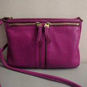 Pink Fossil Leather Crossbody Handbag
